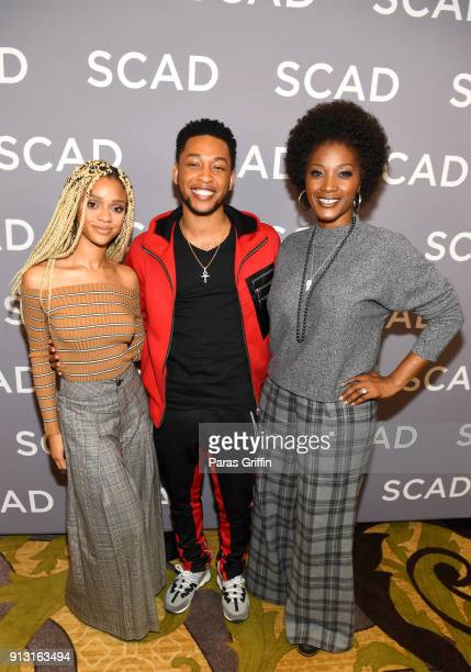 Actors Tiffany Boone Jacob Latimore and Yolonda Ross attend a press junket for 'The Chi' on Day 1 of the SCAD aTVfest 2018 on February 1 2018 in...