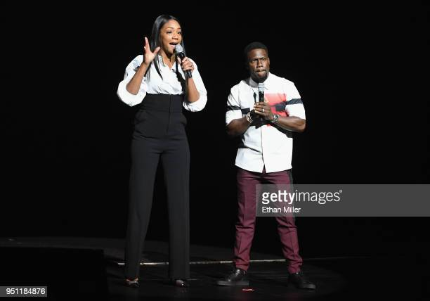 Actors Tiffany Haddish and Kevin Hart speak onstage during CinemaCon 2018 Universal Pictures Invites You to a Special Presentation Featuring Footage...