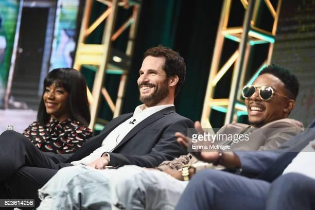 Actors Tiffany Haddish Ryan Gaul and Allen Maldonado of 'The Last OG' speak onstage during the TCA Turner Summer Press Tour 2017 Presentation at The...