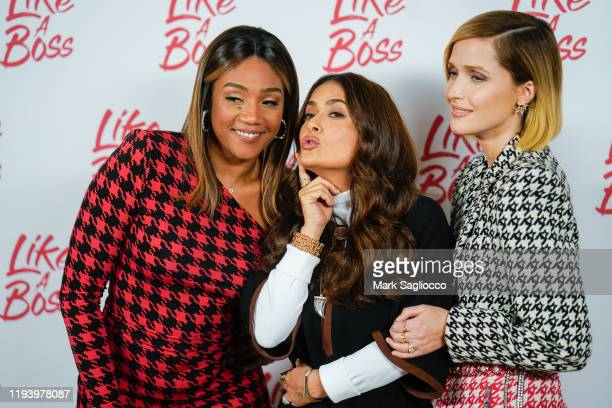Actors Tiffany Haddish Salma Hayek and Rose Byrne attend the Like A Boss Photo Call at the Whitby Hotel on December 14 2019 in New York City