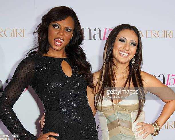 Actors Tiffany Hines and Francia Raisa attend the Latina Magazine's 15th anniversary celebration at The Globe Theatre on October 5, 2011 in Universal...