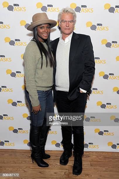 Actors Tika Sumpter and Harry Hamlin in the IMDb Studio In Park City for IMDb Asks Day Two on January 23 2016 in Park City Utah