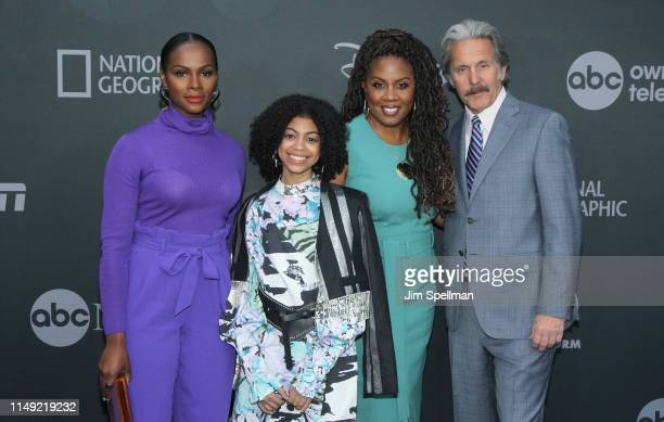 Actors Tika Sumpter Arica Himmel Christina Anthony and Gary Cole attend the 2019 Walt Disney Television Upfront at Tavern On The Green on May 14 2019...