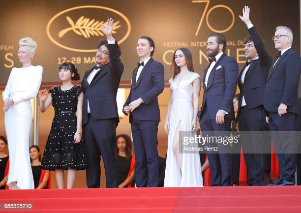 Actors Tilda Swinton and Ahn SeoHyun director Bong JoonHo actors Paul Dano Lily Collins Jake Gyllenhaal and Devon Bostic and Director of the Cannes...