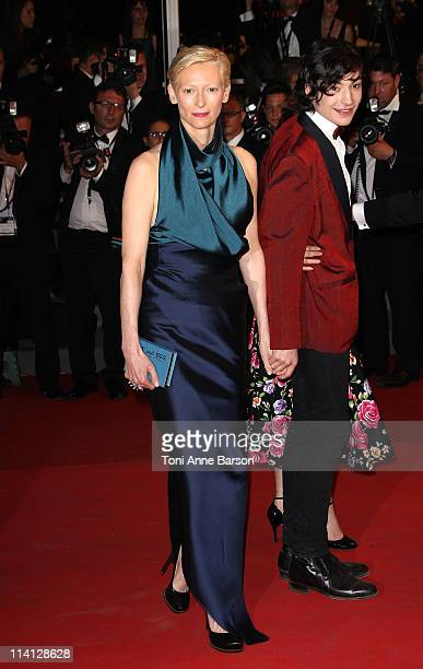 Actors Tilda Swinton and Ezra Miller attend the 'We Need To Talk About Kevin' Premiere during the 64th Cannes Film Festival at the Palais des...