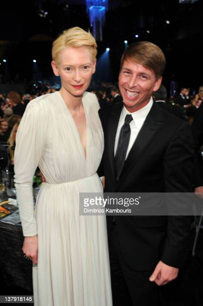 Actors Tilda Swinton and Jack McBrayer attend The 18th Annual Screen Actors Guild Awards broadcast on TNT/TBS at The Shrine Auditorium on January 29...