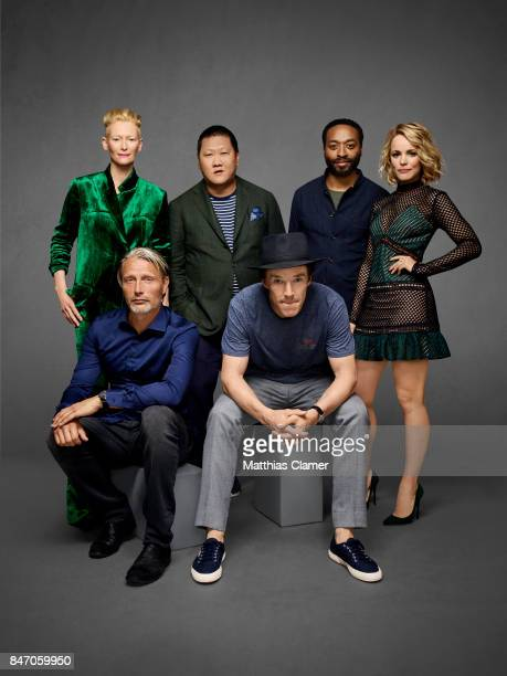 Actors Tilda Swinton Mads Mikkelsen Benedict Wong Benedict Cumberbatch Chiwetel Ejiofor and Rachel McAdams from 'Dr Strange' are photographed for...