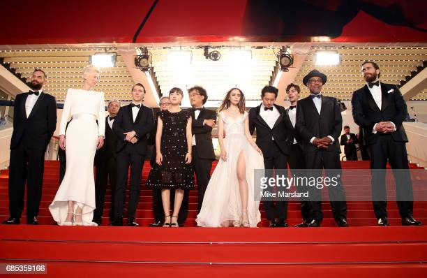 Actors Tilda Swinton Paul Dano and Ahn SeoHyun director Bong JoonHo and actors Lily Collins Steven Yeun Devon Bostic Giancarlo Esposito and Jake...