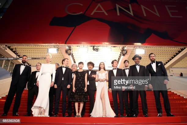 Actors Tilda Swinton Paul Dano Byung Heebong and Ahn SeoHyun director Bong JoonHo and actors Lily Collins Steven Yeun Devon Bostic Giancarlo Esposito...
