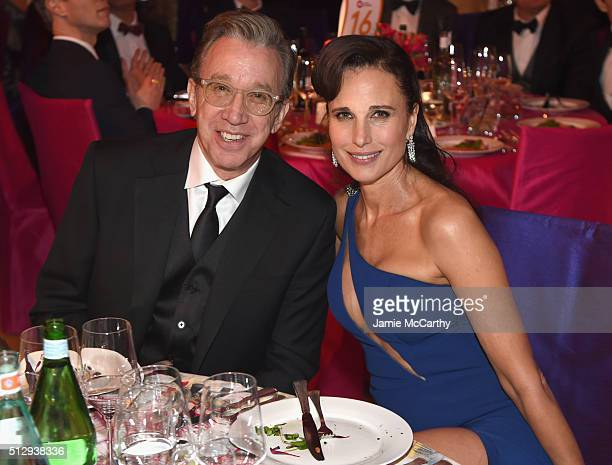Actors Tim Allen and Andie MacDowell attend the 24th Annual Elton John AIDS Foundation's Oscar Viewing Party at The City of West Hollywood Park on...