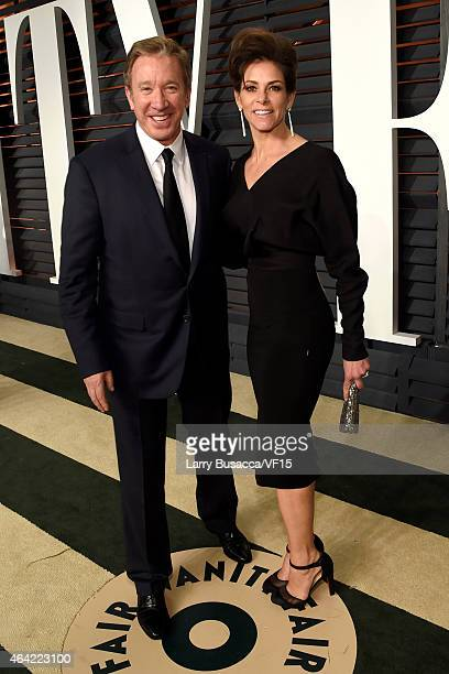 Actors Tim Allen and Jane Hajduk attend the 2015 Vanity Fair Oscar Party hosted by Graydon Carter at the Wallis Annenberg Center for the Performing...