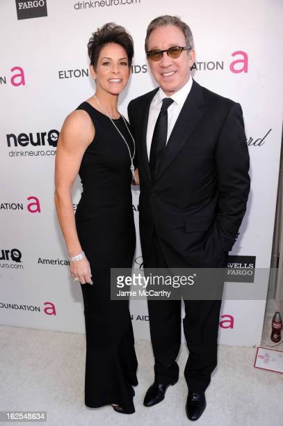 Actors Tim Allen and Jane Hajduk attend the 21st Annual Elton John AIDS Foundation Academy Awards Viewing Party at West Hollywood Park on February 24...