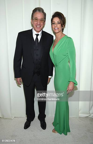 Actors Tim Allen and Jane Hajduk attend the 24th Annual Elton John AIDS Foundation's Oscar Viewing Party at The City of West Hollywood Park on...
