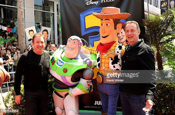 Actors Tim Allen and Tom Hanks arrives at premiere of Walt Disney Pictures' Toy Story 3 held at El Capitan Theatre on June 13 2010 in Hollywood...