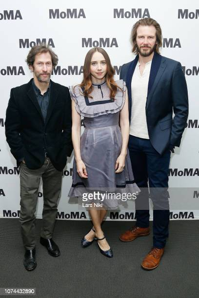 Actors Tim Blake Nelson Zoe Kazan and Bill Heck attend MoMA's Contenders screening of The Ballad of Buster Scruggs at MoMA Titus One on December 19...