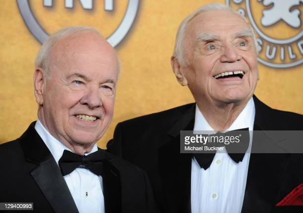 Actors Tim Conway and Ernest Borgnine pose in the press room at the TNT/TBS broadcast of the 17th Annual Screen Actors Guild Awards held at The...