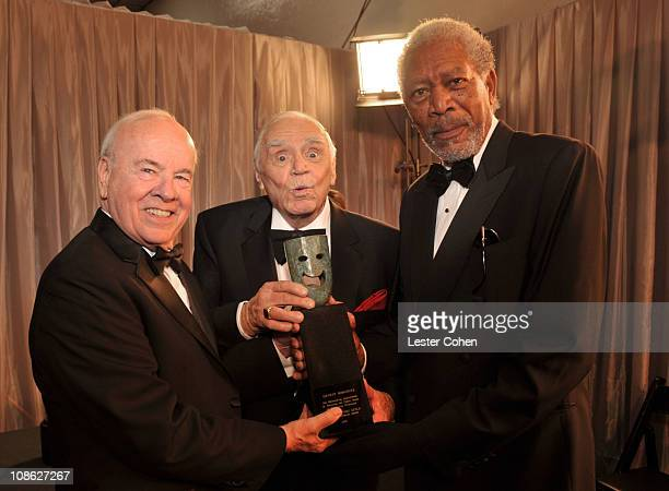 Actors Tim Conway, Ernest Borgnine, and Morgan Freeman attend the TNT/TBS broadcast of the 17th Annual Screen Actors Guild Awards held at The Shrine...