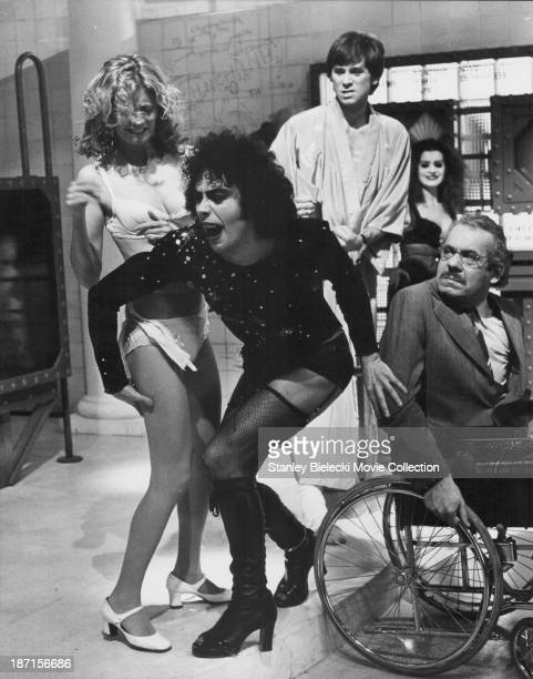 Actors Tim Curry Susan Sarandon Barry Bostwick Patricia Quinn and Jonathan Adams in a scene from the movie 'The Rocky Horror Picture Show' 1975