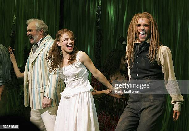 Actors Tim Jerome Jenn Gambatese and actor Josh Strickland appear onstage during opening night curtain call of Tarzan at Richards Rodgers Theatre May...