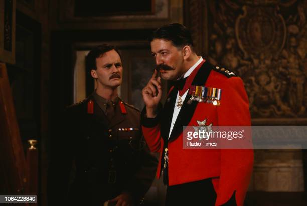 Actors Tim McInnerny and Stephen Fry in a scene from episode 'Major Star' of the BBC television sitcom 'Blackadder Goes Forth', September 1989.