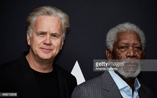 "Actors Tim Robbins and Morgan Freeman attend The Academy's 20th Anniversary Screening of ""The Shawshank Redemption"" at the AMPAS Samuel Goldwyn..."