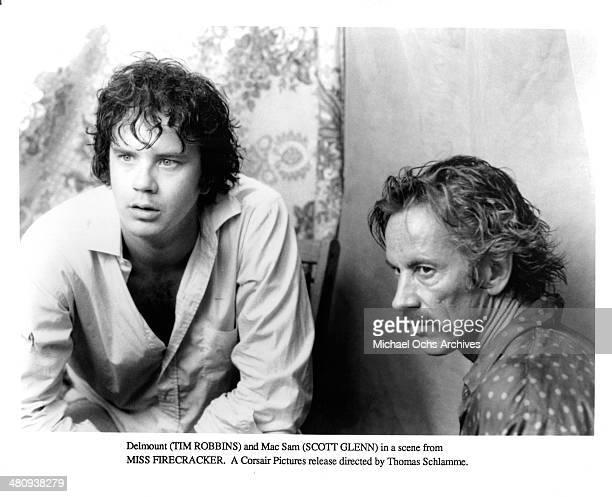 Actors Tim Robbins and Scott Glenn in a scene from the movie Miss Firecracker circa 1989