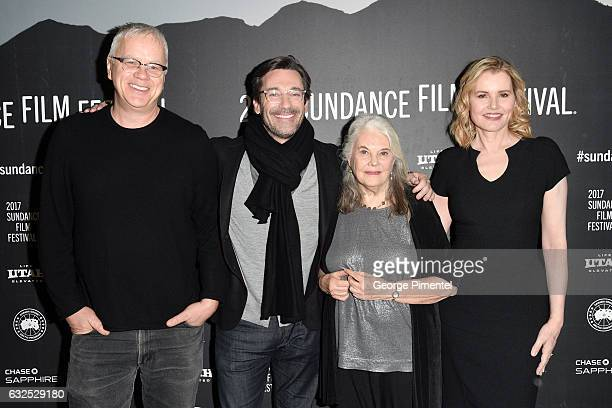 Actors Tim Robbins Jon Hamm Lois Smith and Geena Davis attend the 'Marjorie Prime' Premiere at Eccles Center Theatre on January 23 2017 in Park City...