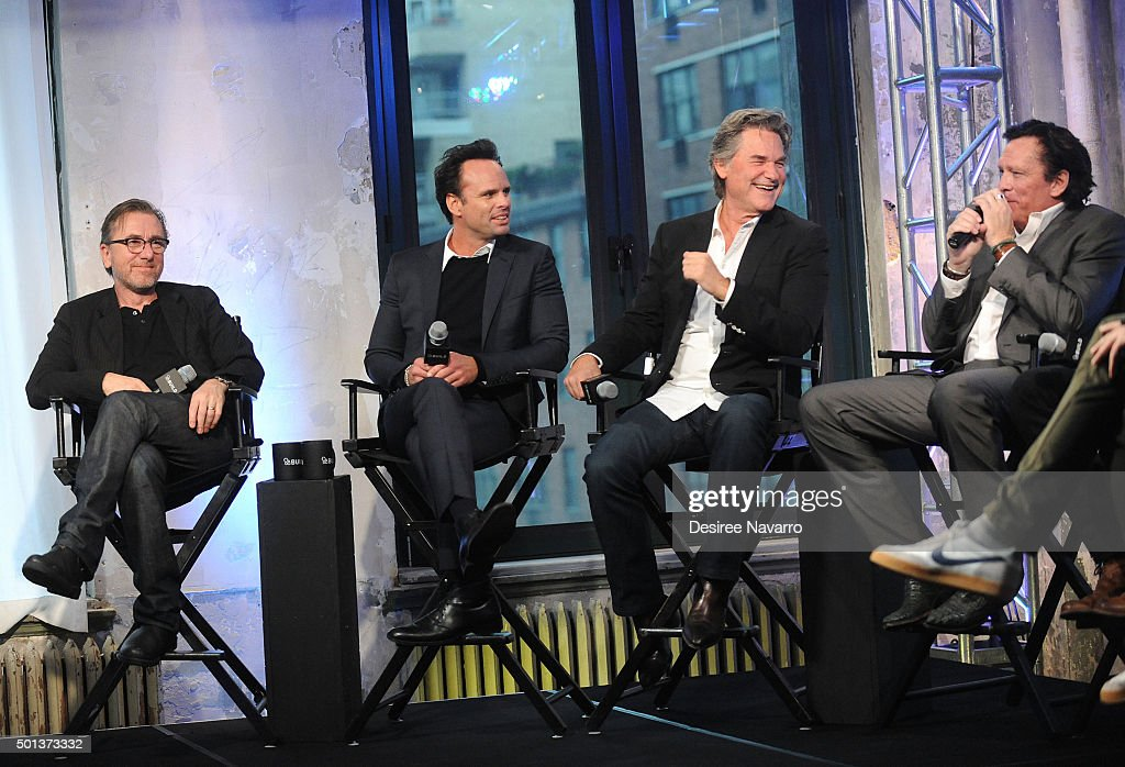 Actors Tim Roth, Walton Goggins, Kurt Russell and Michael Madsen attend AOL BUILD Series: Kurt Russell, Walton Goggins, Tim Roth, And Demian Bichir 'The Hateful Eight' at AOL Studios In New York on December 14, 2015 in New York City.