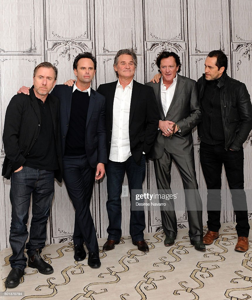 Actors Tim Roth, Walton Goggins, Kurt Russell, Michael Madsen and Demian Bichir attend AOL BUILD Series: Kurt Russell, Walton Goggins, Tim Roth, And Demian Bichir 'The Hateful Eight' at AOL Studios In New York on December 14, 2015 in New York City.