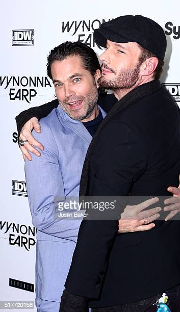 Actors Tim Rozon and Michael Eklund attend the premiere of Syfy's 'Wynonna Earp' at WonderCon 2016 at Regal LA Live Stadium 14 on March 26 2016 in...