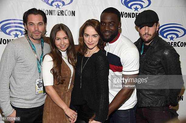 Actors Tim Rozon Dominique ProvostChalkley Melanie Scrofano Shamier Anderson Michael Eklundattends the Wynonna Earp panel at WonderCon 2016 Day 2 at...