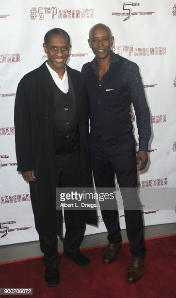Actors Tim Russ and Brian Keith Gamble arrive for the Cast And Crew Screening Of 5th Passenger held at TCL Chinese 6 Theatres on December 13 2017 in...