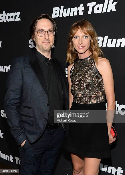 Actors Timm Sharp and Dolly Wells attend the STARZ' Blunt Talk series premiere on August 10 2015 in Los Angeles California