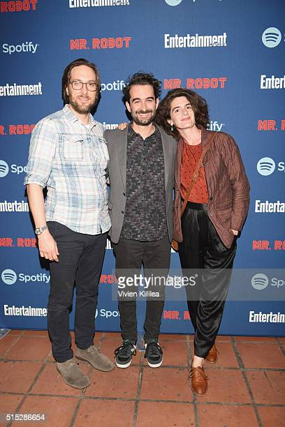 Actors Timm Sharp Jay Duplass and Gaby Hoffmann attend a dinner hosted by Entertainment Weekly celebrating Mr Robot at the Spotify House in Austin TX...