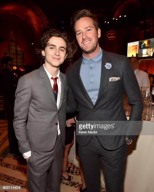 Actors Timothée Chalamet and Armie Hammer attend the National Board of Review Annual Awards Gala at Cipriani 42nd Street on January 9 2018 in New...