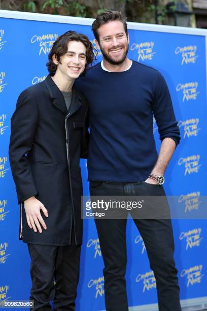 Actors Timothee Chalamet and Armie Hammer attend 'Chiamami Col Tuo Nome ' at De Russie Hotel on January 24 2018 in Rome Italy