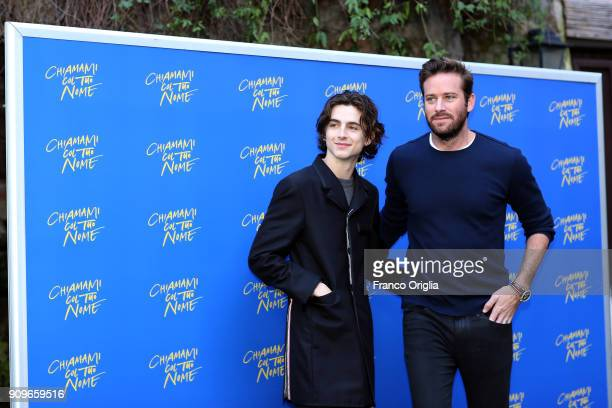 Actors Timothee Chalamet and Armie Hammer attend 'Chiamami Col Tuo Nome ' photocall at De Russie Hotel on January 24 2018 in Rome Italy