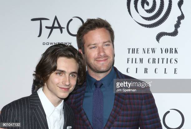 Actors Timothee Chalamet and Armie Hammer attend the 2017 New York Film Critics Awards at TAO Downtown on January 3 2018 in New York City