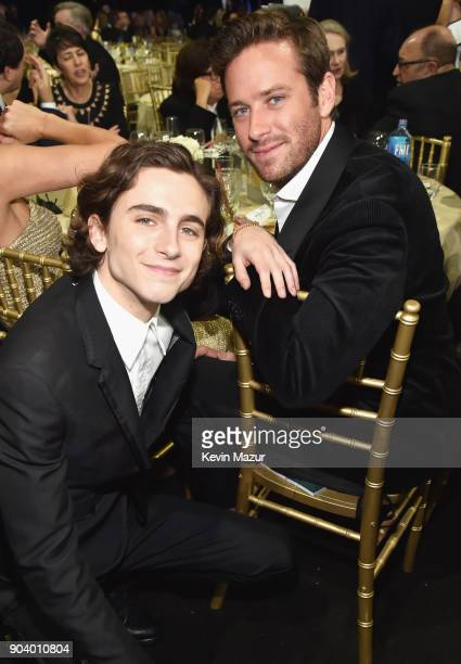 Actors Timothee Chalamet and Armie Hammer attend The 23rd Annual Critics' Choice Awards at Barker Hangar on January 11 2018 in Santa Monica California