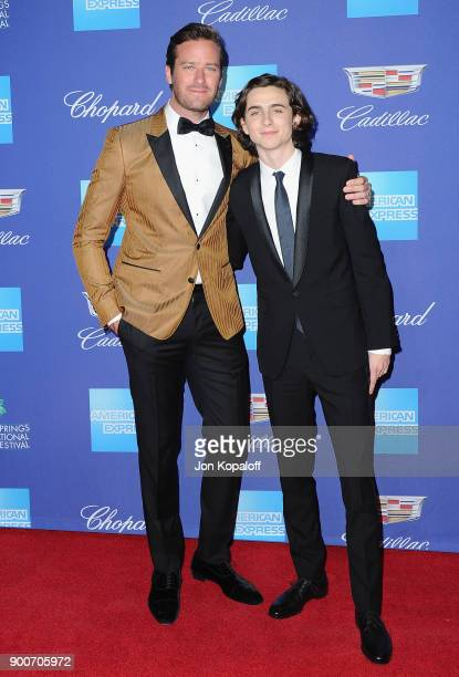 Actors Timothee Chalamet and Armie Hammer attend the 29th Annual Palm Springs International Film Festival Awards Gala at Palm Springs Convention...