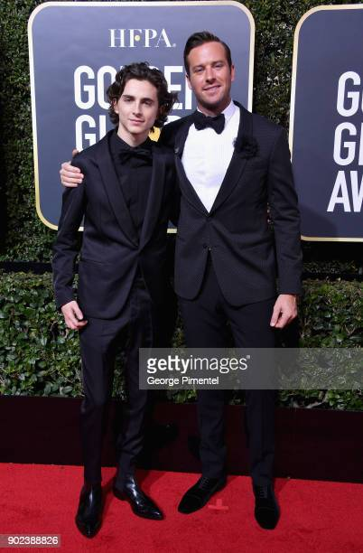 Actors Timothee Chalamet and Armie Hammer attend The 75th Annual Golden Globe Awards at The Beverly Hilton Hotel on January 7 2018 in Beverly Hills...