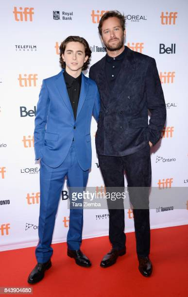 Actors Timothee Chalamet and Armie Hammer attend the 'Call Me By Your Name' premiere during the 2017 Toronto International Film Festival at Ryerson...