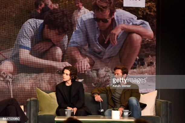 Actors Timothee Chalamet and Armie Hammer attend the Call Me By Your Name press conference during 2017 Toronto International Film Festival at TIFF...
