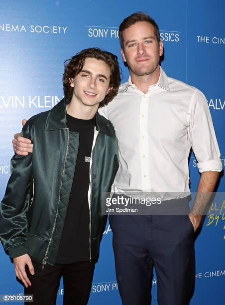Actors Timothee Chalamet and Armie Hammer attend the screening of Sony Pictures Classics' 'Call Me By Your Name' hosted by Calvin Klein and The...