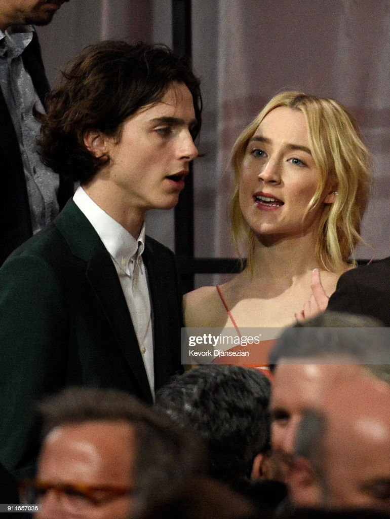 Actors Timothee Chalamet and Saoirse Ronan attend the 90th