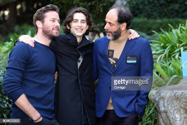 Actors Timothee Chalamet Armie Hammer and Italian Director Luca Guadagnino attend 'Chiamami Col Tuo Nome ' at De Russie Hotel on January 24 2018 in...