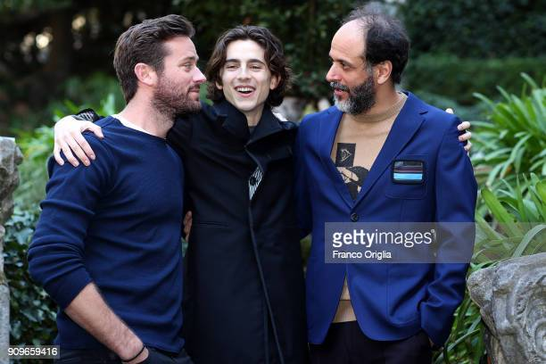 Actors Timothee Chalamet Armie Hammer and Italian director Luca Guadagnino attend 'Chiamami Col Tuo Nome ' photocall at De Russie Hotel on January 24...