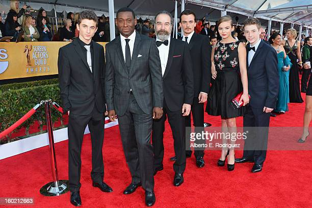Actors Timothee Chalamet David Harewood Mandy Patinkin Rupert Friend Morgan Saylor and Jackson Pace arrive at the 19th Annual Screen Actors Guild...