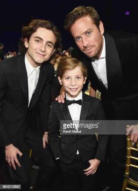 Actors Timothee Chalamet Jacob Tremblay and Armie Hammer attend The 23rd Annual Critics' Choice Awards at Barker Hangar on January 11 2018 in Santa...