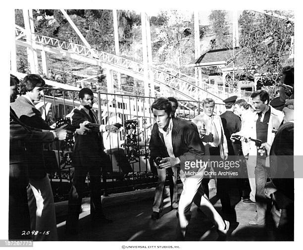 Actors Timothy Bottoms and George Segal on set of Universal Pictures movie Rollercoaster in 1977